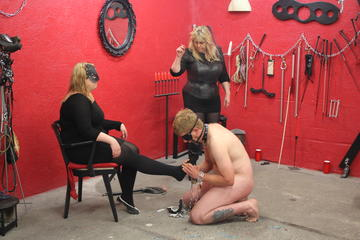 He has to massage the nylon feet