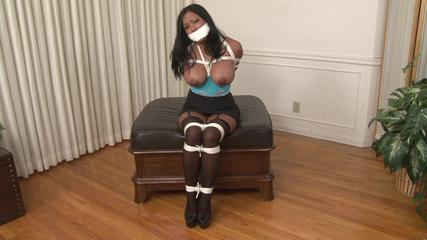 Maxine X Hogtied with a Two-Layer Gag