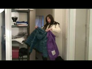 Alina being at home trying on different kind of nylon clothes (Video)