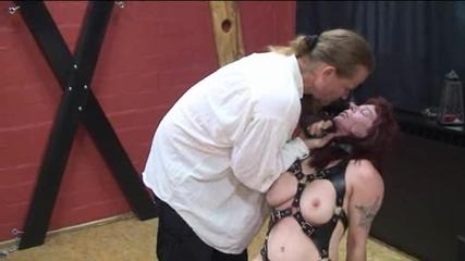 Titty torture on a slave rack