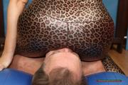 Isabella's facesitting in shiny leo-lycra 7
