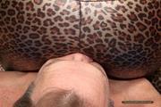 Isabella's facesitting in shiny leo-lycra 9