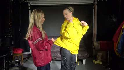 Watching Sandra and Sophie wearing sexy rainwear destroying a rain jacket (Video)