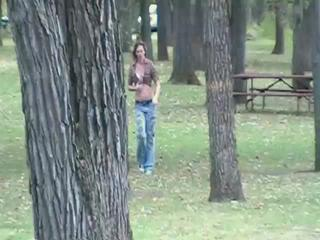 Aubrey Lee - naughty babysitter gives an outdoor blowjob - IPOD version