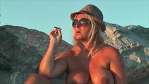 Smoking nude on the beach 9