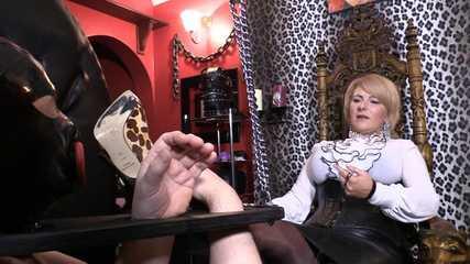 Mistress Erika Bondage Wheel Foot Worship (HD wmv)