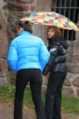 Outdoor trip of Stella and Leonie both wearing sexy shiny down jackets and black jeans (Pics)