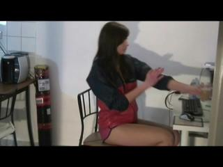 Alina sitting in front of the PC and in the kitchen wearing an oldschool sexy shiny nylon shorts and rain jacket (Video)