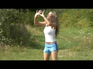 Petra and Sophie playing volleyball in the field wearing shiny nylon shorts (Video)