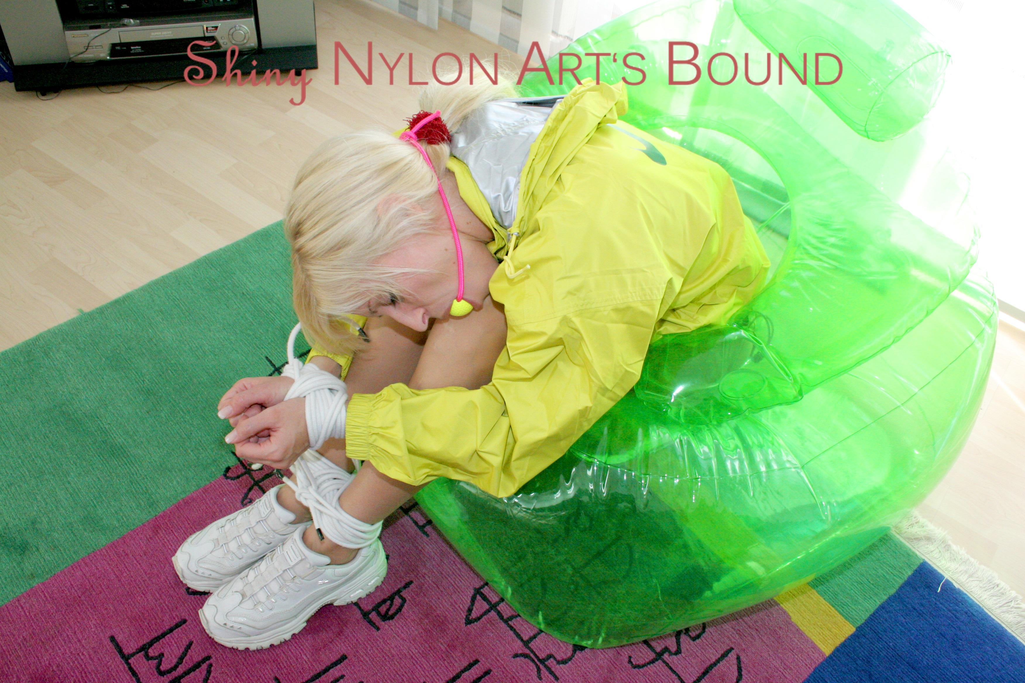 Shinynylonartsbound  Beautiful Archive Girl Tied And Gagged On A-6723