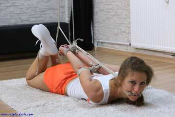 Hooters girl hogtied