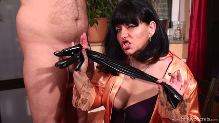 Sexy Sindy in Negligee 2 - Gloved Blowjob