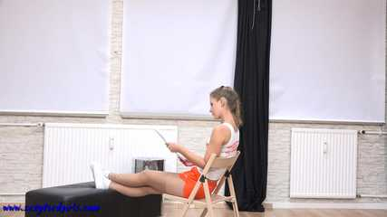 Hooters girl Sophia helpless on a chair