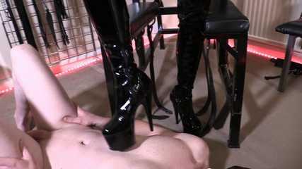Lady Bellatrix's PVC Thigh Boot Worship - Dirty Boot Soles (HD wmv)