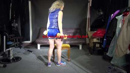 Sophie's workout Shooting with a blue shiny nylon shorts  and a blue down vest (Video)