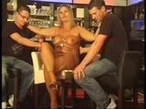Chris with two guys at the nudist-bar 9