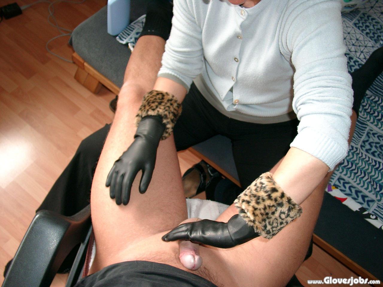Milking handjob rubber glove mistress illusion 4