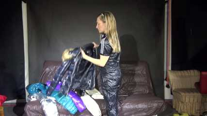 *** Watching sexy SANDRA during changing her clothes into several sexy shiny nylon downwear outfits (video)***