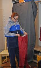 Lady Nadja in layers of AGU rainwear and and transparent raincoat