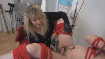 Cock wank and whip and tits present for the slave part 5