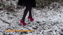 Red high heels in the snow 10