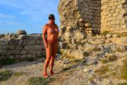 Nude walk to an old castle 7