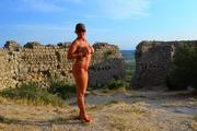 Nude walk to an old castle 9