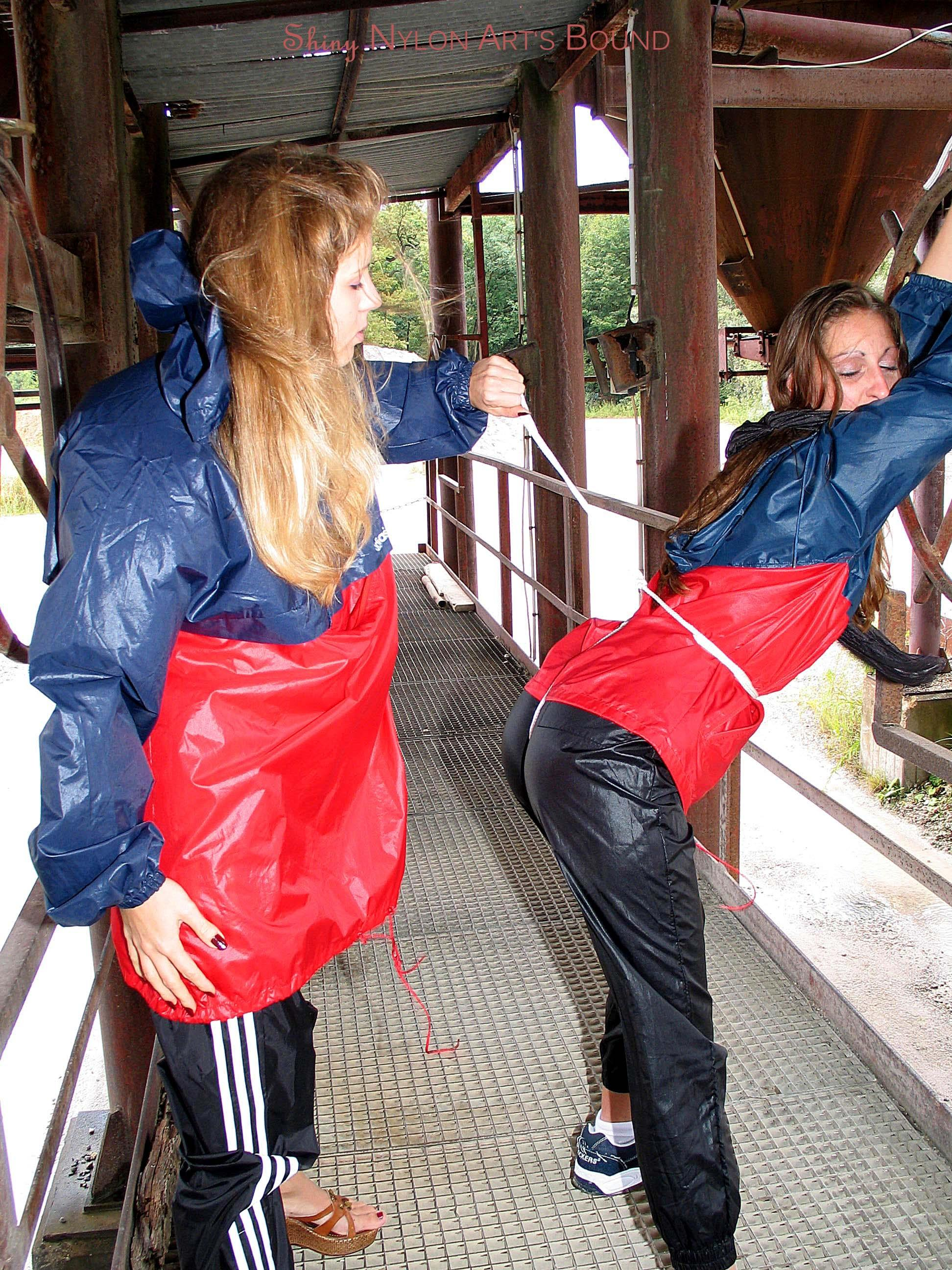 nylon rainwear in Bondage