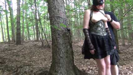 Slave Natasha is chastised in the woods