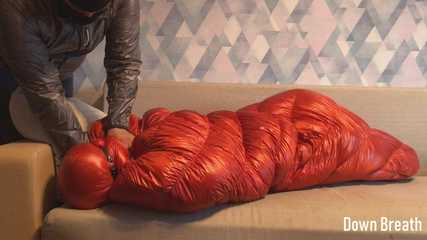Shiny down sleeping bag fetish and breathplay